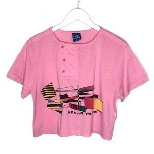 Vintage OP Ocean Pacific Crop Top Tee T-Shirt 80s